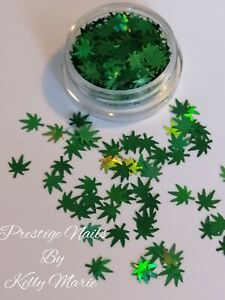 Green Weed Leaf 6mm Craft Sequins Flakes Leaves Embellishments Shaker Cards Art