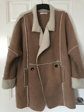Vera & lucy Oversized Camel Coat With Faux Shearling Coat Boho In M