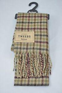 Barbour Tweed Olive/ Merlot Shepherd Wool Scarf