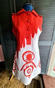 Vintage Couture Louis Feraud 1960's Mod Dress, Red And White,   Size 10-12