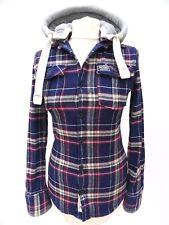 SUPERDRY Ladies Purple Thick Lumberjack Check Hoodie Shirt Jacket Size XS #4014