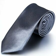 Casual Solid Plain of 3 Pure Colors Skinny Jacquard Woven Silk Men's Tie Necktie