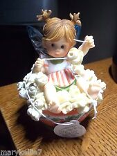 LITTLE KITCHEN FAIRY STRING POPCORN FAIRY IS SITTING IN RED BOWL OF POPCORN