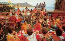 """Luau, A Hawaiian Feast"" Diamond Head, Hawaii Nani Li'i c1950s Vintage Postcard"