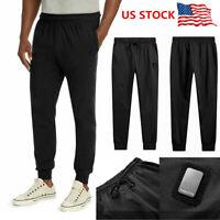 Plus Size Mens Sport Pants Long Trousers Tracksuit Workout Joggers Sweatpants US