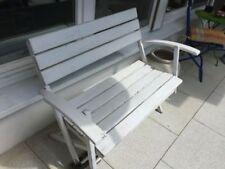 alte Holz Gartenbank , Sitzbank , Parkbank - zusammenklappbar - weiß gestrichen
