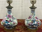 Antique Beautiful Losol Ware Shanghai Porcelain Pair of Lamps  Keeling   Co