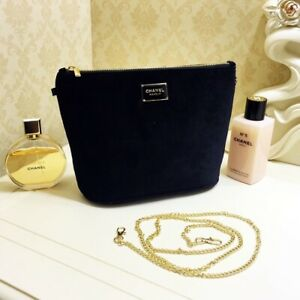 CHANEL COSMETIC / MAKEUP BAG POUCH CLUTCH With Chains Black Size Large VIP GIFT