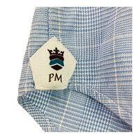 Peter Millar Mens Large Blue Glen Check Plaid Button Up Long Sleeve Dress Shirt