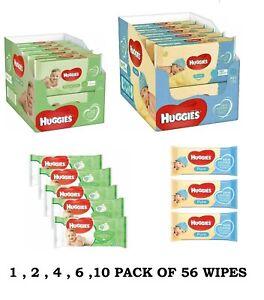 Huggies Pure Baby Wipes Pack of 56 Wipes - Wet Bulk Wholesale 1,2,4,6,10 Packs