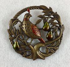 Vintage Jonette Jewelry Partridge in a Pear Tree Brooch
