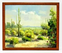 Yucca Shrubs Cactus Desert   20 x 24 Art Oil Painting on Canvas w/ Wood Frame
