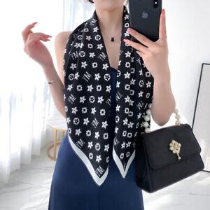 Imitate Twill Silk Scarf Women Fashion Flower Print Shawl Stole Hijab 90*90cm