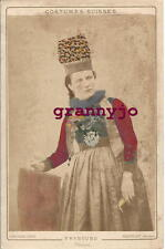 1890s Switzerland Cabinet Photograph by T Richard.# 22 Frybourg District Costume