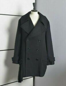 YOHJI YAMAMOTO WOOL HEM PLEATED Women Pea Coat 3 L Black Oversize Jacket RARE