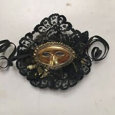 Unique Gold tone metal Mask pin brooch ~ Black lace outline