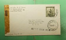 DR WHO 1943 BELGIUM CONGO STANLEYVILLE TO USA WWII CENSORED  g39119