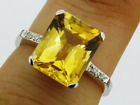 sR226 Genuine 9ct White GOLD NATURAL Citrine & Diamond Solitaire Ring size P
