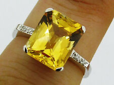 sR226 Genuine 9ct White GOLD NATURAL Citrine & Diamond Solitaire Ring size P