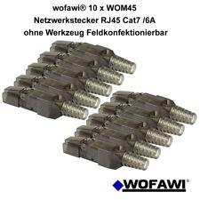 wofawi® 10 x Netzwerk-Stecker  RJ45  CAT 6A/7 Montage ohne Werkzeug werkzeuglos