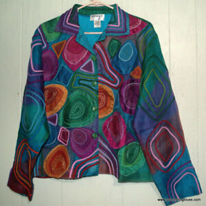 ARt to Wear ANage Silk APpliqued Embroidered Jacket Large B44 Beautiful! NWT
