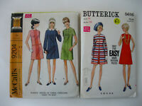 Lot of 2 VTG Butterick & McCalls Mod Style Dress Patterns  Size 14/Bust 36