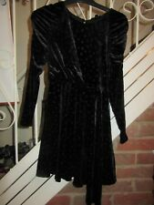 BNWT UK 6 PETITE TOPSHOP Dress Black Velvet Feel Spots Long Sleeve Asymmetric