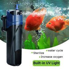 5W Uv w/ Submersible Pump Filter Aquarium Oxygen Fish Tank Mute 3 in 1