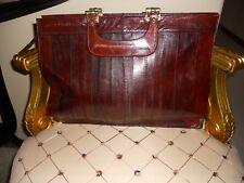 vintage genuine Leather briefcase document office bag brown