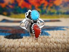NAVAJO 925 SILVER TURQUOISE AND CORAL RING WITH LEAF DESIGN RING-KJLR1114TC