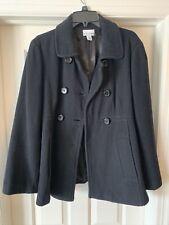 Motherhood Maternity Black Wool Blend Peacoat Jacket L Soft Large