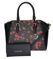 Michael Kors Ciara Large Top Zip SatcheL Black Red Rose + Trifold Wallet SET