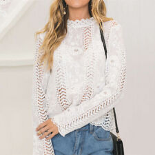 Women Blouse Long Sleeve White Lace Hollow Top Elegant Formal Office Slim Shirt