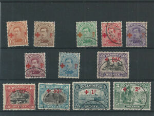 Postage Stamps Belgium 1918  - 150/161  King Albert I  Red Cross  MH* & Used