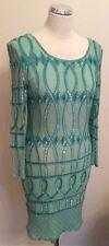 BEAUTIFUL GREEN SEQUINNED SILK DRESS SIZE 14 FIT 12