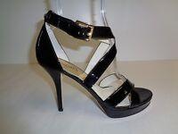 Michael Kors Size 9 EVIE PLATFORM Black Patent Leather Sandals New Womens Shoes