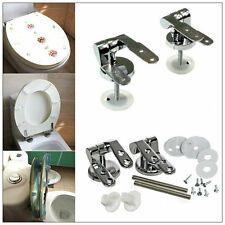 New Chrome Silver Toilet Seat Hinges Spare Universal Replacement with Fittings