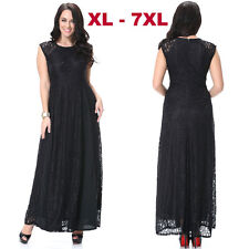 Black Lace Sleeveless Formal Party Evening Cocktail Gown Long Dress Plus Size