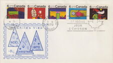Canada #524-528a 6¢ Christmas 1970 Strip of Five First Day Cover