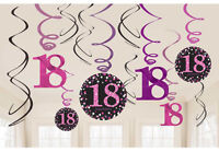 12 x 18th Birthday Hanging Swirls Black & Pinks Party Decorations Age 18 FREE PP
