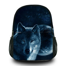 New Printed Cool Wolf Design Canvas Travel BackPack Computer Large Black BackBag