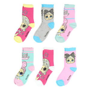 LOL Surprise Socks for Girls - 6 Pairs - Size 6 - 8.5 Only