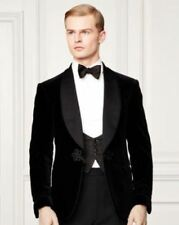 Mens Black Velvet One Button Luxury Blazer Stylish Dinner Party Wear Jacket Coat