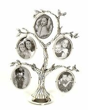 ANTIQUE EFFECT SILVER PLATED FIVE APERTURE FAMILY TREE PHOTO PICTURE FRAME