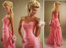 UK Stock Taffeta Long Evening Party Ball Gown Prom Wedding Bridesmaid Dress 6-18
