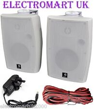 120W PAIR STEREO ACTIVE WALL MOUNT BLUETOOTH SPEAKERS AUXILIARY INPUT WHITE