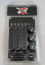 Mighty Mite USA MIM Retro STRAT Accessory Kit Black Knobs Covers tips Back Plate