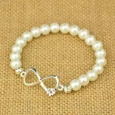 5 White Glass Pearl,Bow Infinity Bracelets - Bridal, Bridesmaids, Wholesale UK