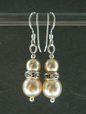 Vintage 1950's Cream Glass Pearls & Swarovski & Sterling Silver Bridal Earrings