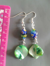handmade Millefiori and Shell Disc Beads Earrings jewellery silver plated